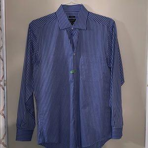 Pronto Uomo Non Iron Blue Grey striped Dress Shirt